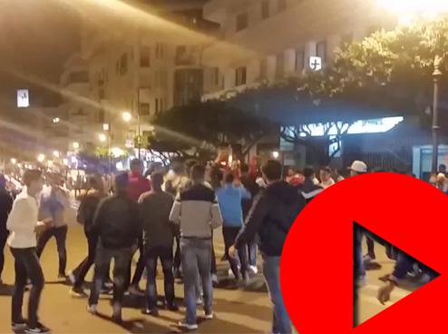 شباب طنجة يملأون الشوارع احتفالا بتأهل المنتخب